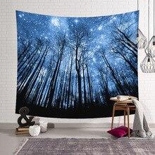 Ночь Звездное небо Дерево Лес Гобелен Стена Висячие Хиппи Психоделические Аннотация Бого Гобелен для спальни Гостиная Общежитие