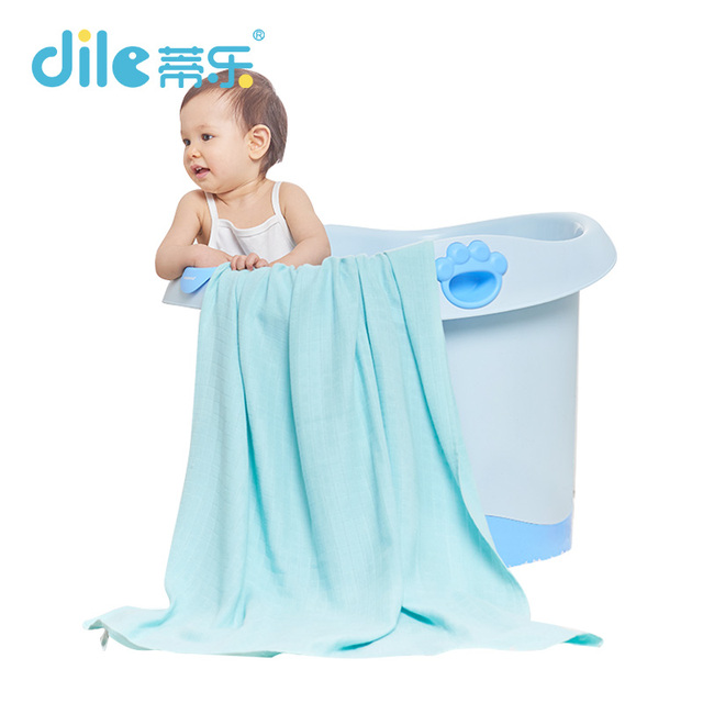 Dile Baby Bath Towels 100% Cotton Gauze Solid New Born Baby Towels Ultra Soft Strong Water Absorption 1 Piece 90*100cm