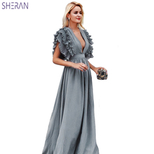 2019 Fashion Women Sleeveless Ruffles Summer Dress High Waist Deep V Neck Sexy Long Maxi Dress Holiday Party Dress For Ladies summer deep v neck high waist maternity maxi dresses sleeveless draping long evening gown for pregnant women dinner slim dress