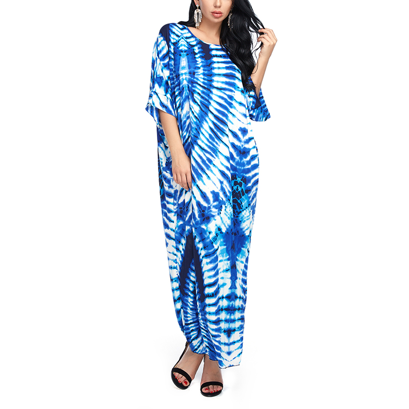 Women Beach Dress Summer Vestidos Casual Maxi Long Dresses Fashion Loose Half Sleeve Print Ladies Blue Dress Plus size