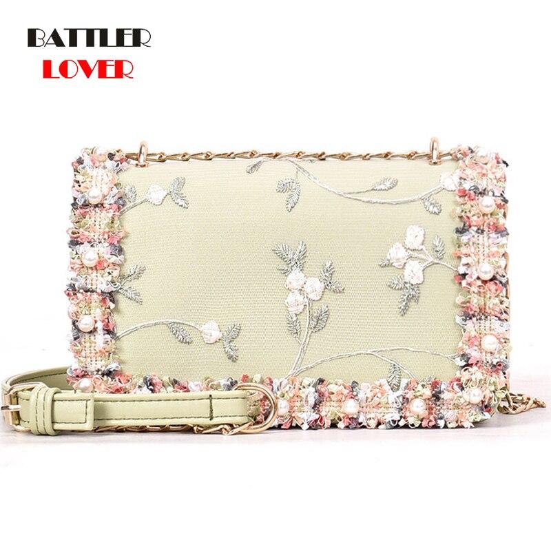 Lace Flowers Women Bag 2019 New Handbag High Quality PU Leather Sweet Girls Square Bag Flower Pearl Chain Shoulder Messenger Bag