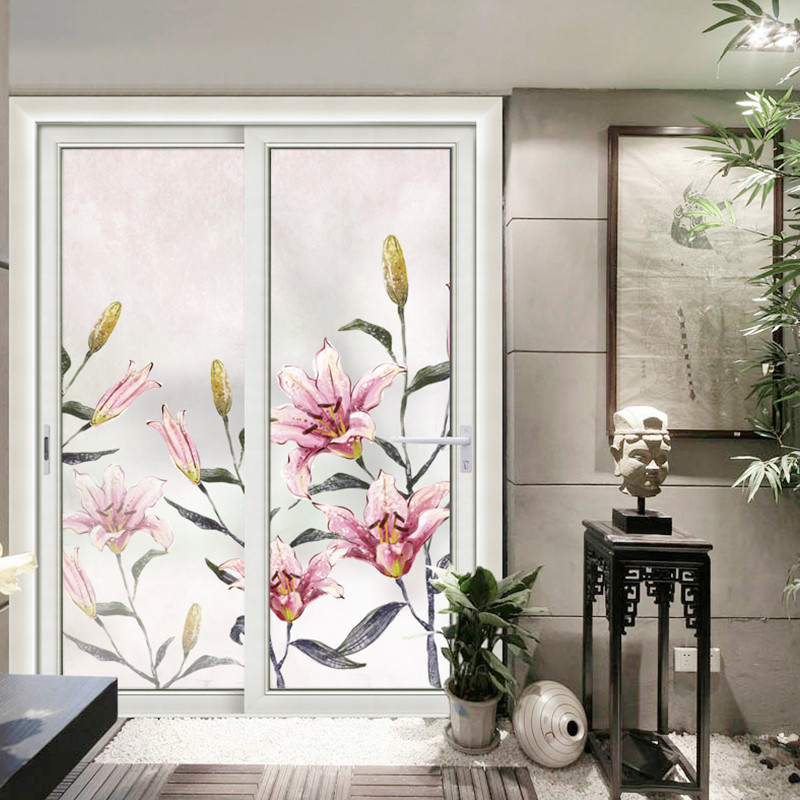 Support Custom Size Decorative Self adhesive Window Film Stained Frosted Privacy Glass Stickers For Nails No Glue Bathroom