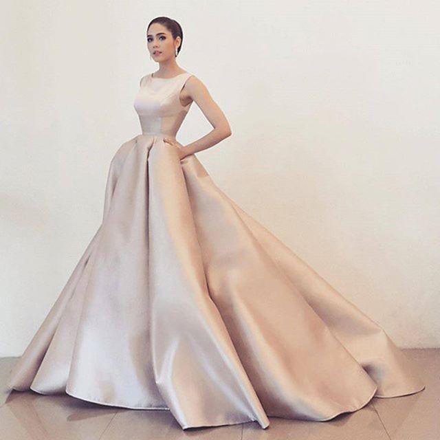 Modern Elegant Long White Satin Evening Dresses 2016 Formal Dress Scoop Ball Gowns Party Gown Custom
