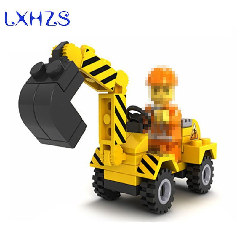 41pcs City Construction Bulldozer Building Car Bricks Blocks Compatible City Develop Toys Assemble Kids Birthday Gift