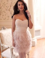 Luxury Pink Tulle Feather Beaded Straight Cocktail Dresses 2018 Prom Dresses Sweetheart Off Shoulder Zipper Back Party Gowns