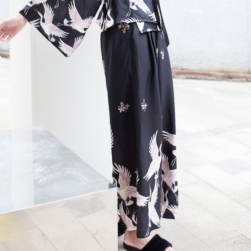 TWOTWINSTYLE 2017 Crane Print Kimono Trousers for Women Elastic High Waist Palazzo Wide Leg Pants Black Vintage Casual Clothing