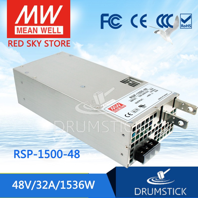 (12.12)MEAN WELL original RSP-1500-48 48V 32A meanwell RSP-1500 48V 1536W Single Output Power Supply [cheneng]mean well original rsp 100 48 48v 2 1a meanwell rsp 100 48v 100 8w single output with pfc function power supply