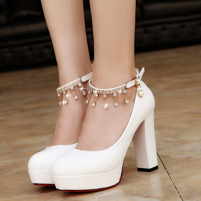 Women Bridal Shoes Super High Heels Pumps String Bead Ankle Strap Platform  Pump Dress Shoes Wedding Shoes zapatos mujer 3345 59fe913333f0