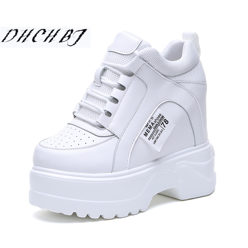 2019 New Spring Women Sneakers Popular Platform Casual Shoes Woman 12CM Heels Wedges Breathable Vulcanized Shoes White Footwear Сникеры