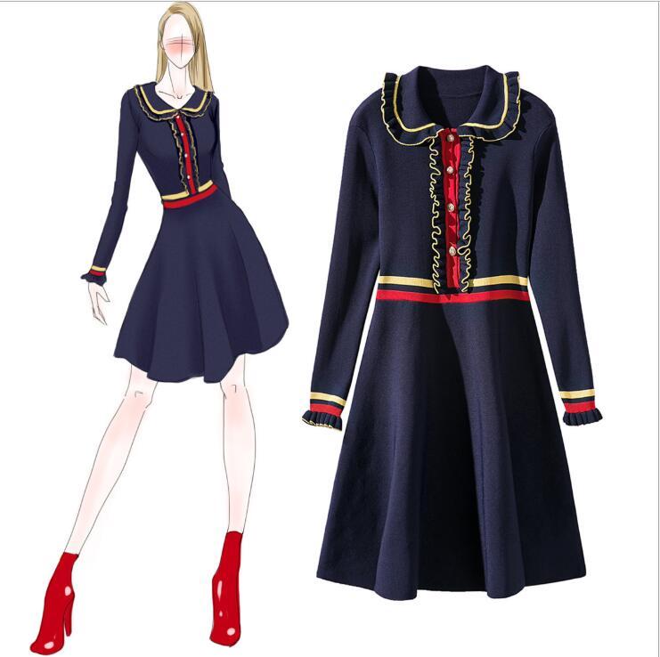 2018 boutique robe femmes printemps col claudine décontracté tricot robe