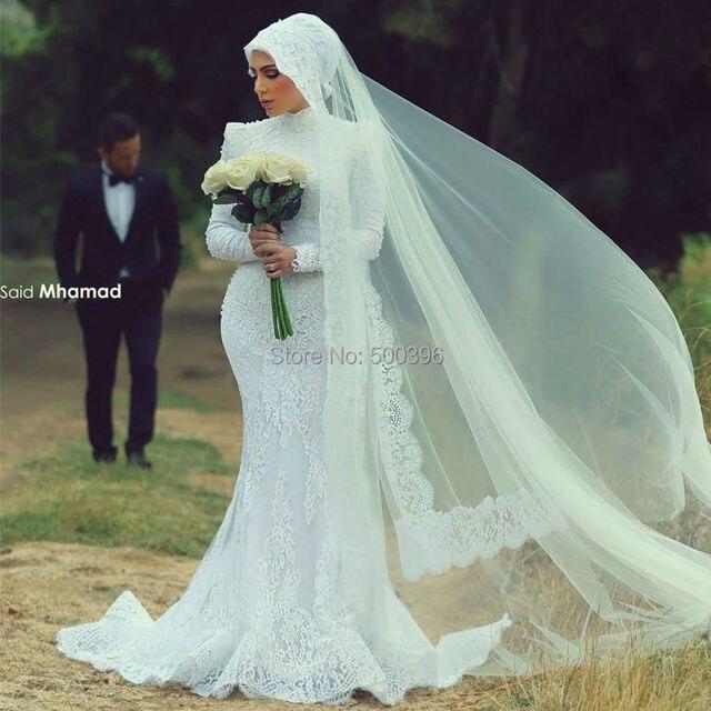 High Neck Muslim Long Sleeves Wedding Dress 2016 Romantic Lace ...