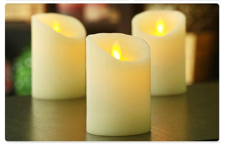 6pcs/set LED Auto Electronic Flameless Candle Automatic Lights Large DIA Simulation Candle Lamp Party Wedding Birthday Deco