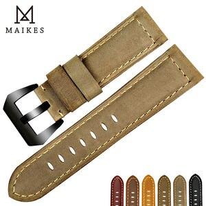 Image 5 - MAIKES جديد الساعات 22 24 26 مللي متر الرجال الأسود جلد طبيعي حزام (استيك) ساعة اليد اكسسوارات ل بانيراي أو سامسونج gear s3