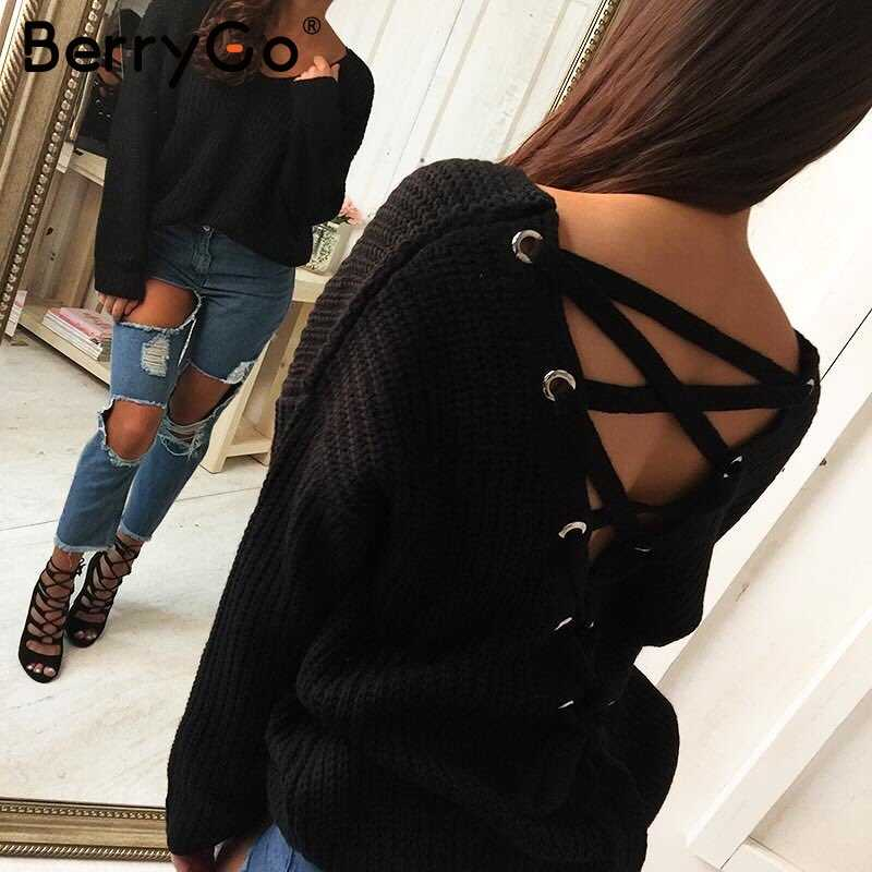BerryGo Sexy backless lace up stricken pullover Casual herbst winter pullover frauen tops Mode aushöhlen jumper pull femme