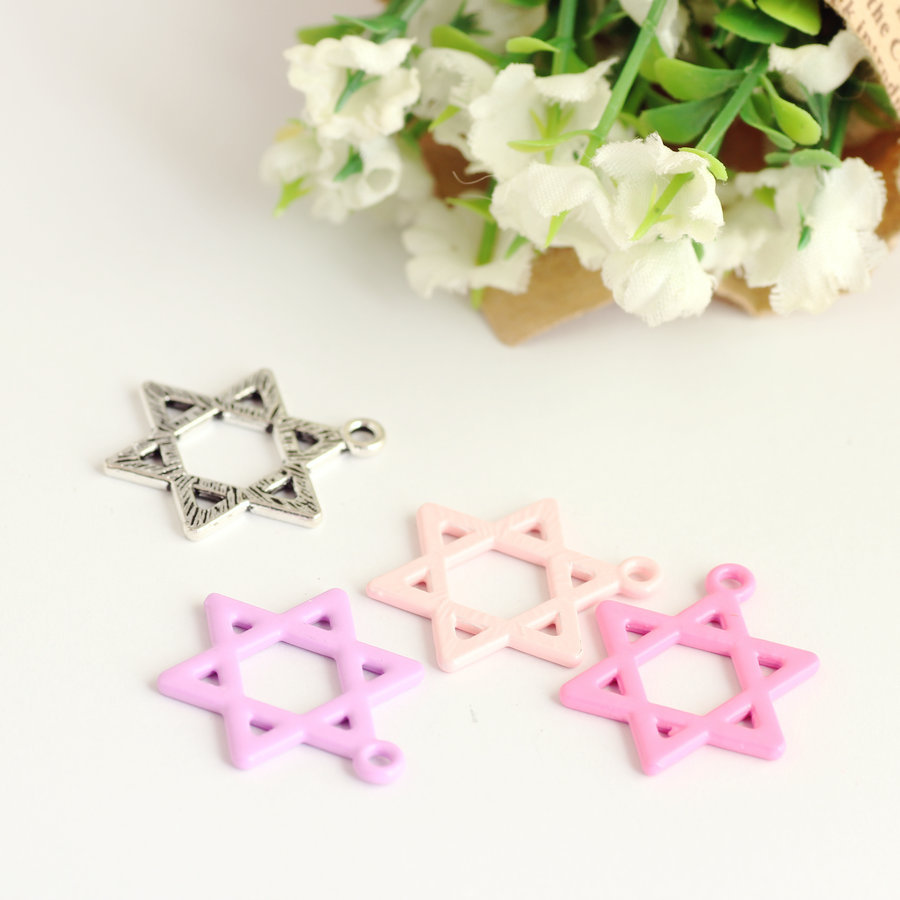 Trendy Hollow Out Hexagram Stars Charm Pendant Enamel Alloy Candy Colors Vintage Silver DIY Jewelry Finding Bracelet Charm Craft
