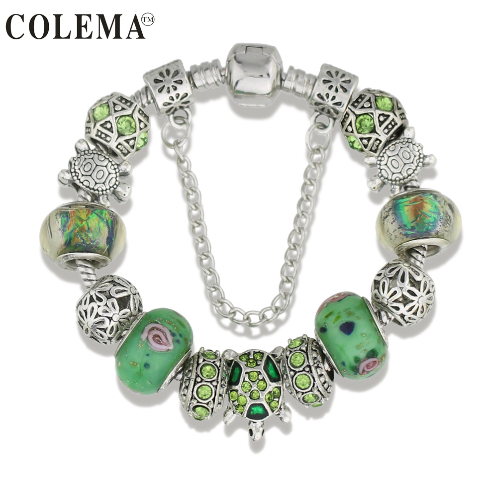 Trendy Jewelry Antique Silver Sea Turtles Charm Bracelet & Bangles Green Glass European Beads Bracelets for Women Gifts KM005