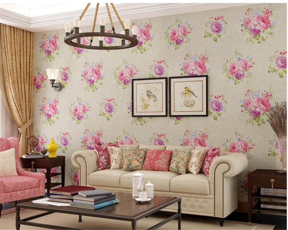beibehang Pastoral Nonwovens Fashion American Village Retro Flower Wallpapers 3D Stereo Background papel de parede 3d wallpaper beibehang pastoral nonwovens fashion
