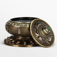 Alloy copper censer sandalwood smoked incense burner eight aroma stove bedroom buddhist temple handicraft furnishing articles