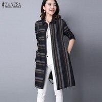 Top Blusa New ZANZEA Autumn Women Turn Down Neck Irregular Stripe Long Sleeve Buttons Pockets Casual