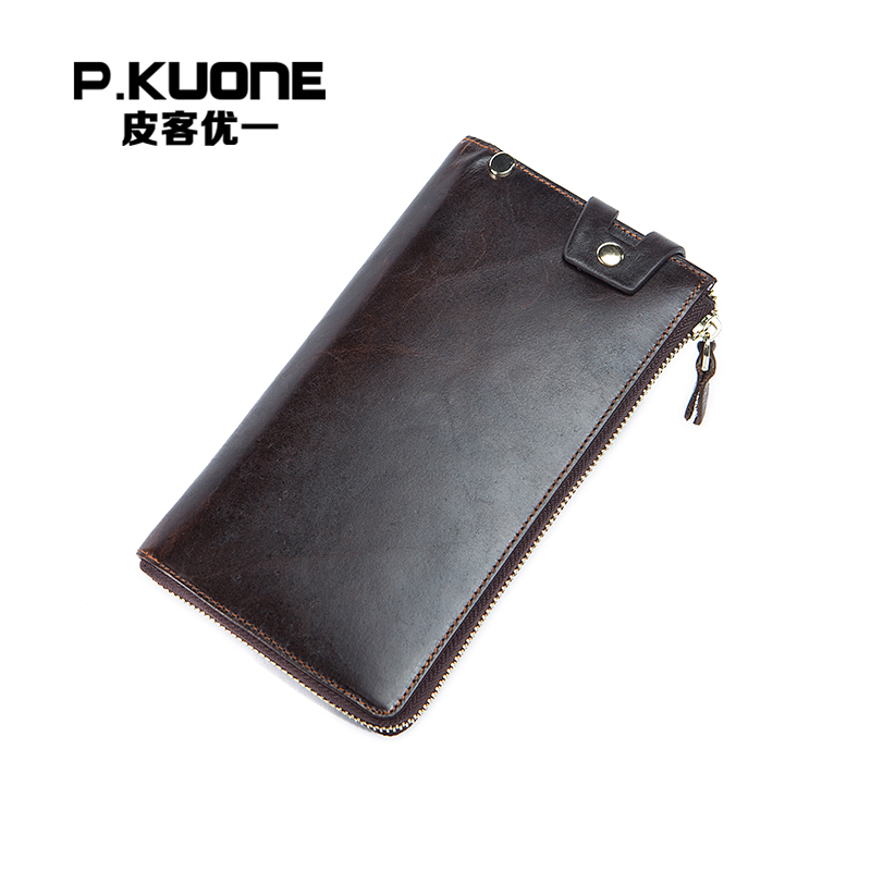 P.KUONE New Design Genuine Long Zipper Wallet Business Men Fashion Wallet Male Famous Luxury Brand Coin Purse Travel Card Holder  new fashion men wallet pu leather purse handbags for male luxury brand black no zipper men clutches free shipping card holder