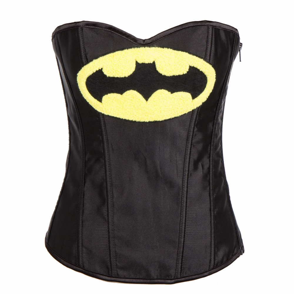 2017 News Satain Batman Appliques Sexy Waist Slimming   Corsets   With BlackWhite Above Knee Skirts For Womens   Bustiers   &   Corsets