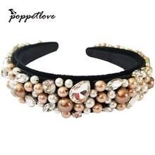 New Fashion European Vintage Baroque Headband full Imitation pearls Rhinestone crystal Hairbands Gold Crown Hair Jewelry HotSale