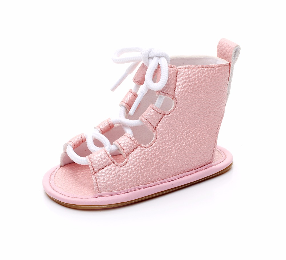 2019 Hot salg spædbarn Gladiator baby sommer sko piger 10 farver Pu læder Baby moccasiner barn Gummi sål Sprøjte baby sko