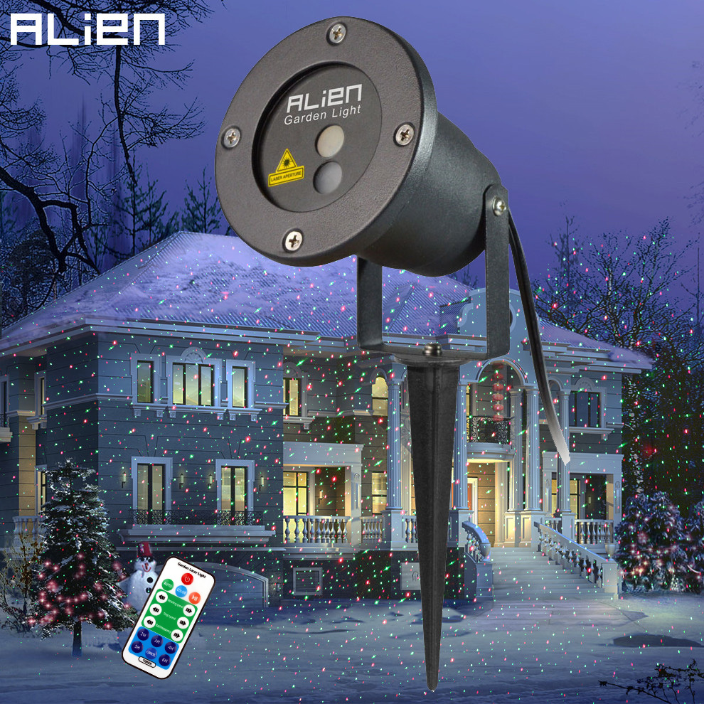 alien outdoor laser elf christmas lights red green xms decorative light show moving static tree gobo projector party lighting [ 990 x 990 Pixel ]