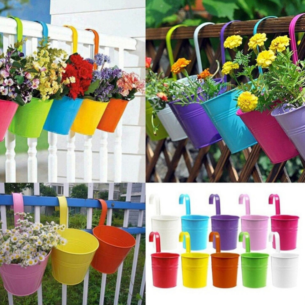 Colorful Garden Pots 10 colors hanging pots metal iron flower pot hanging balcony garden 10 colors hanging pots metal iron flower pot hanging balcony garden plant planter home decoration in flower pots planters from home garden on workwithnaturefo