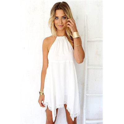 a794fd5791acea Hot Women Summer Casual White Lace Halter Lace Short Mini Dress Beach Wear-in  Dresses from Women's Clothing on Aliexpress.com   Alibaba Group