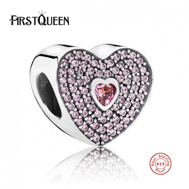 FirstQueen 100% 925 Sterling Silver Sweet Heart Charm fit DIY Bracelets & Bangles Fine Jewelry Accessories