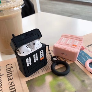 Image 2 - 3D携帯電話ソフトシリコンワイヤレス充電アップルairpods 1 2黒ピンクbluetoothヘッドセットボックス