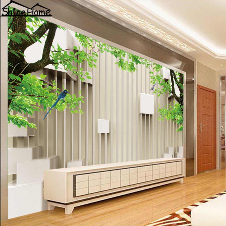 現代グリーン木レンガ3dナチュラル壁紙用壁3 Dフローリング写真の壁紙