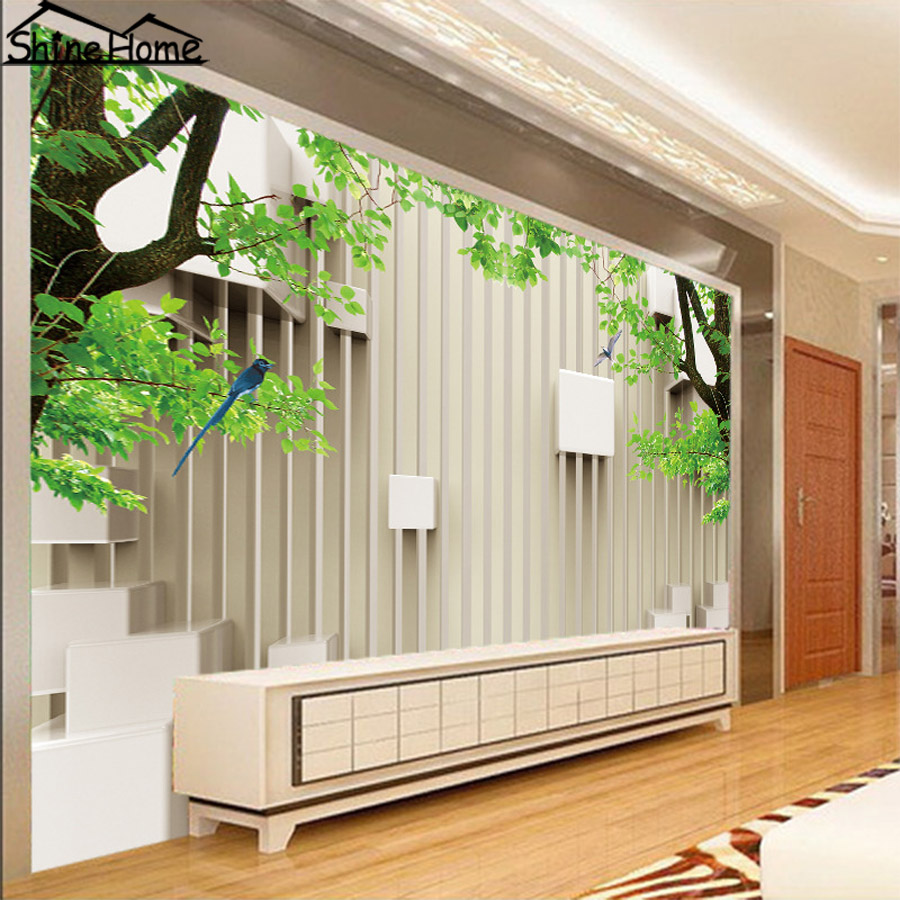 Modern Green Trees on Brick 3D Natural Wallpaper for Wall 3 d Flooring Photo Wallpaper for Livingroom Mural Rolls Home Decal coloring of trees