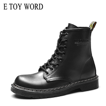 E TOY WORD Fashion women ankle boots Winter Pu Leather Women Boots Flat Shoes Round toe Lace-Up Black Motorcycle