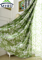 MYRU Pastoral Style Garden Green Shade Leaves Cationic Jacquard Screens Customized Curtains for Bedroom and Living Room