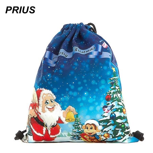 PRIUS Christmas Drawstring Backpack For Girls Boys Women Bundle Pocket  Printing Backpack Santa Claus Bagpacks For 069068288b03a