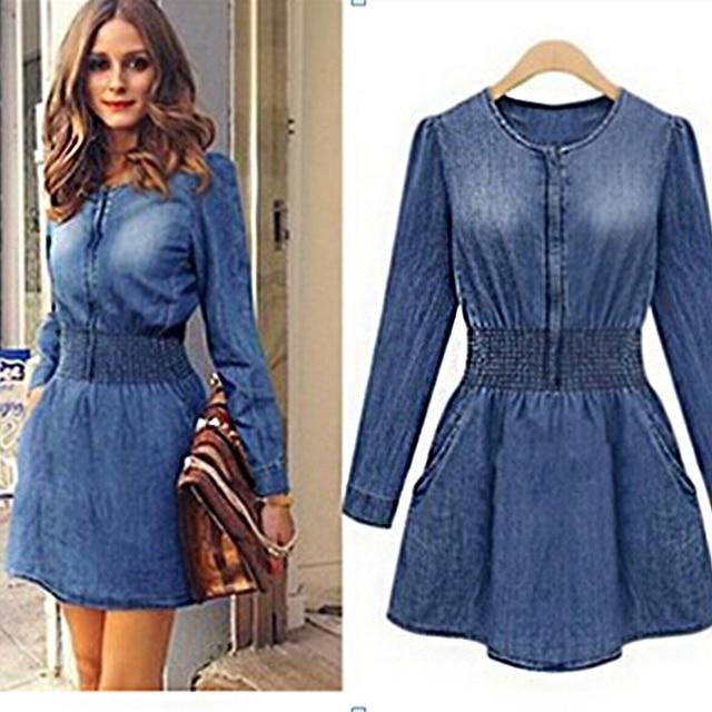 0086b4c0a8 LOHILL Fashion Womens Longline Denim Shirt Dress Ladies Long Sleeve beam  waist Jean Dresses
