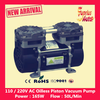 Ultra - low price 110V (AC) 50L / MIN 165W small electric piston vacuum pump 220v ac 50l min 165w oil free piston vacuum pump hzw 165