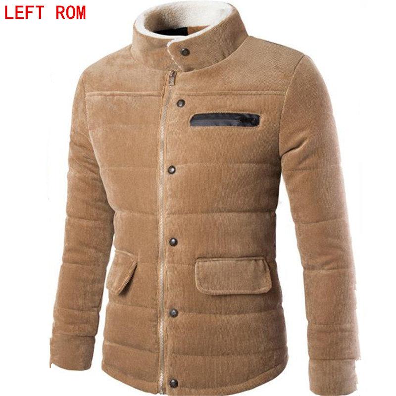 2017 Winter Men's Pure Color Zipper Casual Cotton men's clothing Heartbreaker Models Slim Fit men's Cotton Corduroy Coat