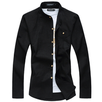Mens Shirt 2016 Camisa Masculina Vestidos Plus Size New Pure Color Long Sleeve Cotton Linen Shirts