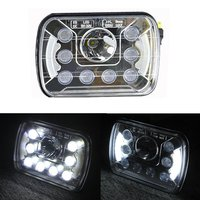 One Pair 5x7 Inch 7x6 4x6 45W 7inch Led Car Headlight Square Halo Ring Truck