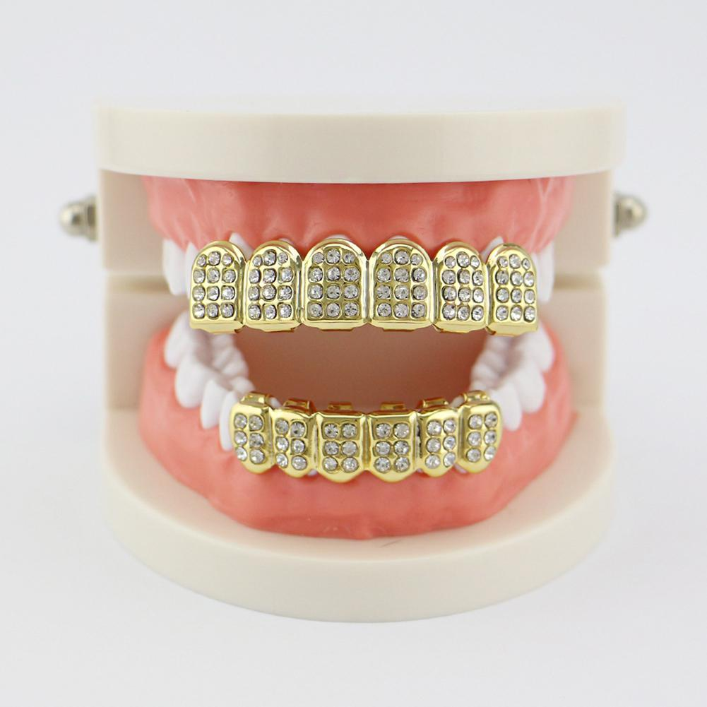Sangdo Gold Plating Fashionable Teeth Grillz Set with Rhinestone Teeth Socket Shiny False Teeth for Rapper Hip-hop