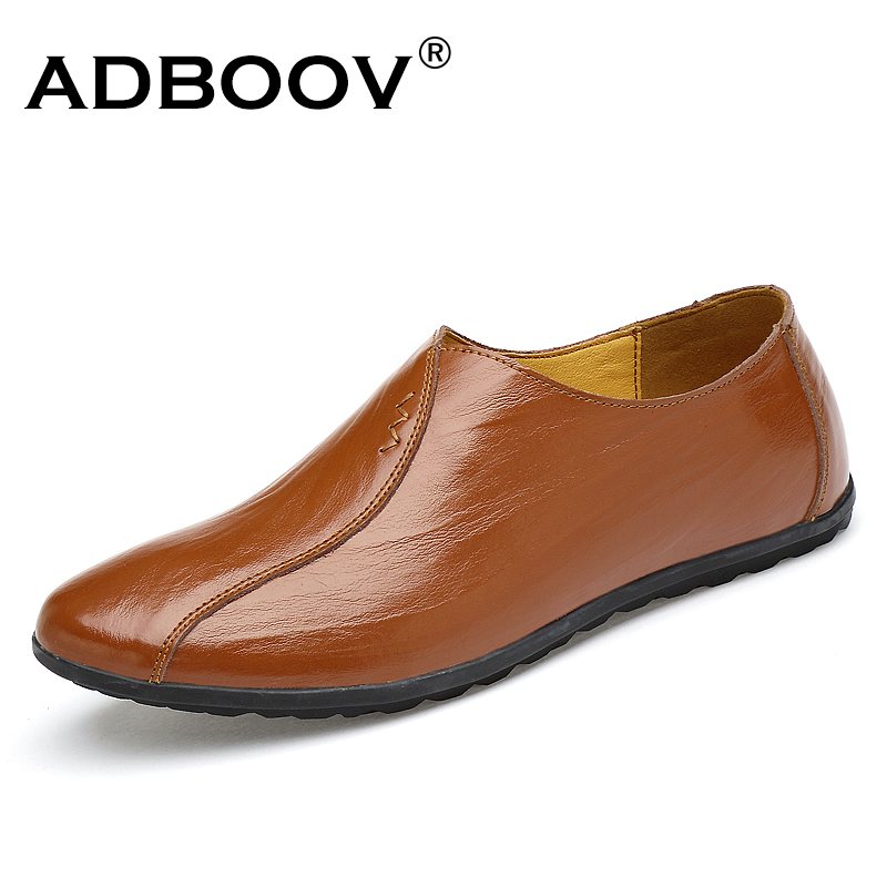 ADBOOV Casual Shoes Men Genuine Leather Loafer Shoes Solid Color Italian Design Slip On Falts Zapatos Hombre branded men s penny loafes casual men s full grain leather emboss crocodile boat shoes slip on breathable moccasin driving shoes