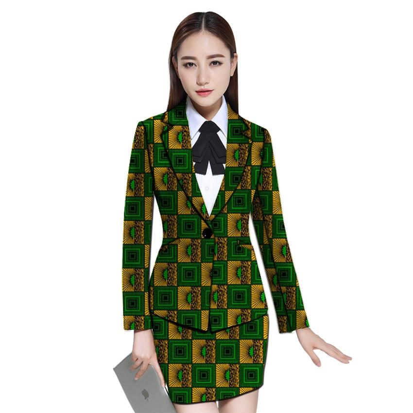 African clothes women print blazer with skirt Ankara fashion skirt and jacket sets female outfits dashiki
