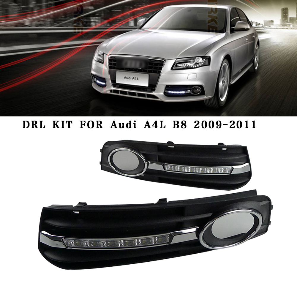 Car DRL Kit for Audi A4 L B8 2009-2012 LED Daytime Running Light Bar super bright auto fog lamp daylight for car led drl light car drl kit for audi a4 l b8 2009 2012 led daytime running light bar super bright auto fog lamp daylight for car led drl light