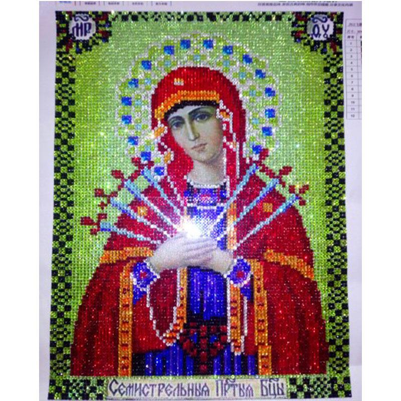 HOT NEW Picture Of Rhinestones Round Diamond Embroidery Religion Painting Diamond Mosaic Pattern Beads Embroidery Kit Beadwork