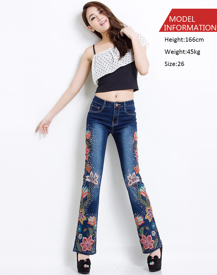 Women Embroidered Beaded Jeans Rhinestone Bell Bottom Flared Pants Elasticity Luxury Sexy Ladies High Waist Push Up Female Jeans 11