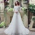 Супруга линия лодка шеи с half-рукава невесты платья 2016 аппликации свадебные платья оптовая продажа