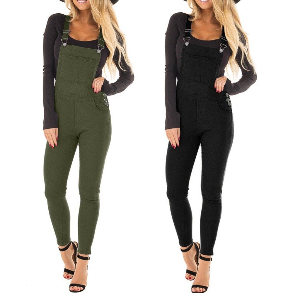 Correa Monos Tamaño Plus Ajustable Delgado Pantalones Babero Green Elástico black Tirantes Jeans De Larga Sólido Clásico Mono Color FUBUYqwI